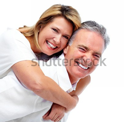 Couple amour jeunes souriant blanche fond Photo stock © Kurhan