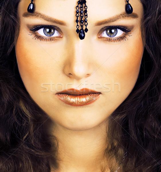 Tajemniczy wygląd wschodniej pretty woman piękna oczy Zdjęcia stock © Kurhan