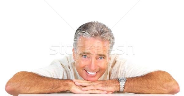 Anziani uomo sorridere felice senior isolato Foto d'archivio © Kurhan