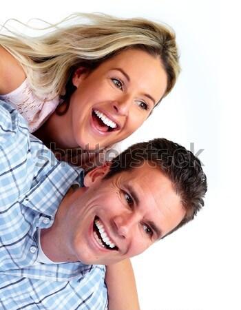 Stockfoto: Gelukkig · paar · glimlachend · liefde · witte · vrouw