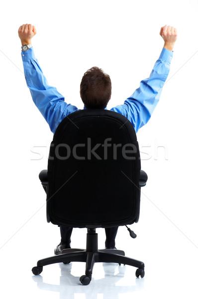 Сток-фото: бизнесмен · бизнеса · расслабиться · изолированный · белый · служба