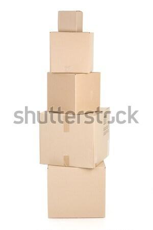 Papier cases emballage isolé blanche fond Photo stock © Kurhan