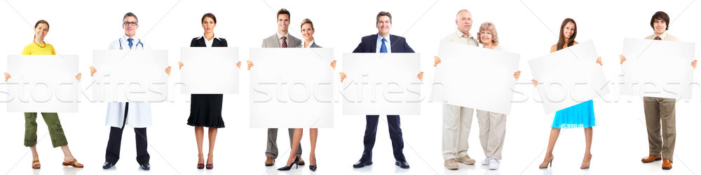Business people group with banner. Stock photo © Kurhan