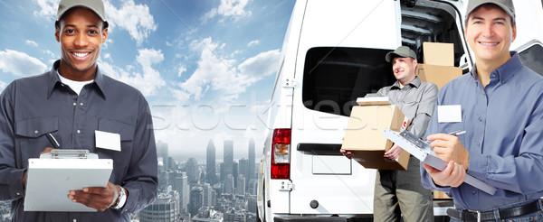 Carteiro entrega expedição homem trabalhar caminhão Foto stock © Kurhan