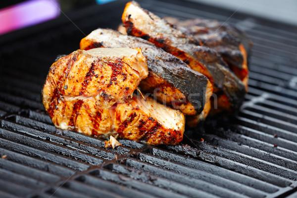 Stock fotó: Lazac · hal · barbecue · grill · főzés · vacsora · forró