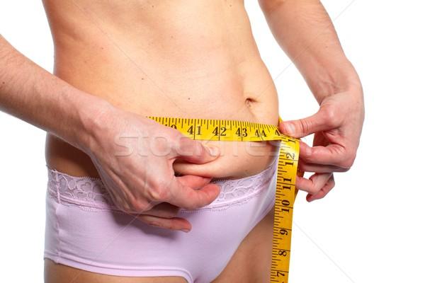 Woman measuring fat abdomen. Stock photo © Kurhan