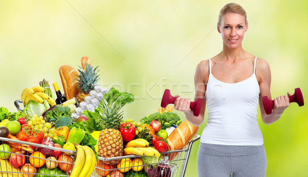 Grocery shopping cart with fruits  Stock photo © Kurhan