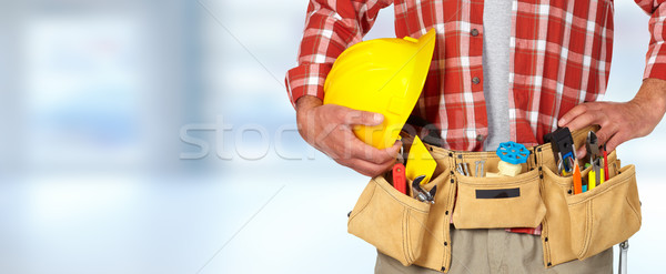 Bouwvakker helm tool gordel Blauw gebouw Stockfoto © Kurhan