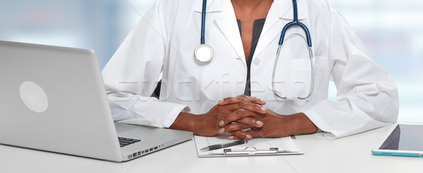 Stock photo: African American Doctor woman hands