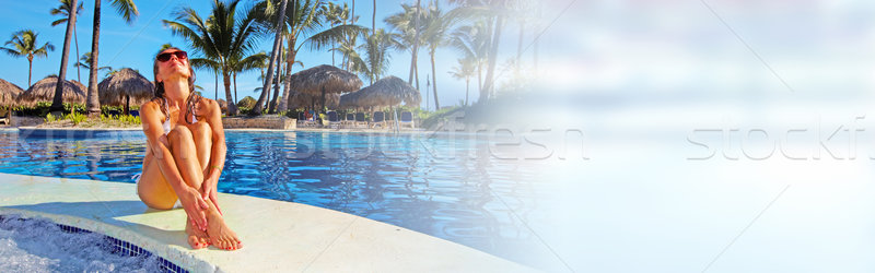 женщину бассейна красивая женщина расслабляющая Бассейн отпуск Сток-фото © Kurhan