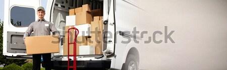 Házhozszállítás postás doboz profi csomag rendelés Stock fotó © Kurhan