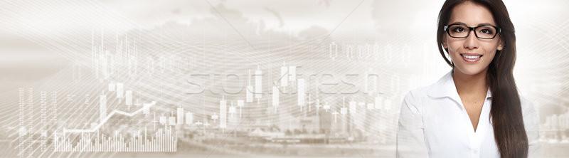 Kínai üzletasszony pénzügyi befektető nő tőzsde Stock fotó © Kurhan