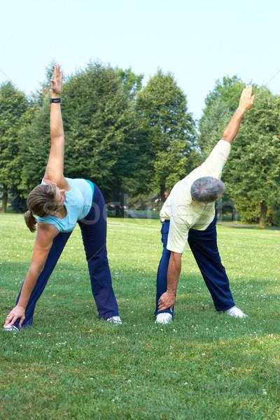 Senior couple doing yoga. Stock photo © Kurhan