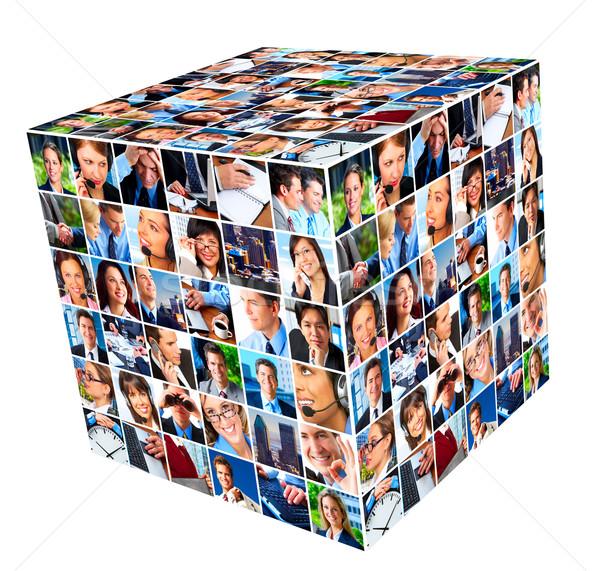 グループ ビジネスの方々  コラージュ キューブ ビジネス 電話 ストックフォト © Kurhan