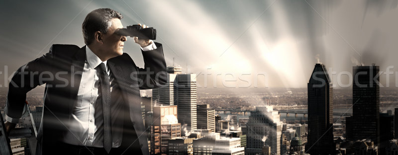 Businessman with binoculars. Stock photo © Kurhan