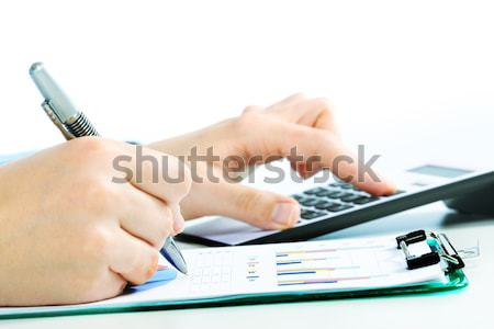 Mains simulateur comptable stylo comptables femme Photo stock © Kurhan