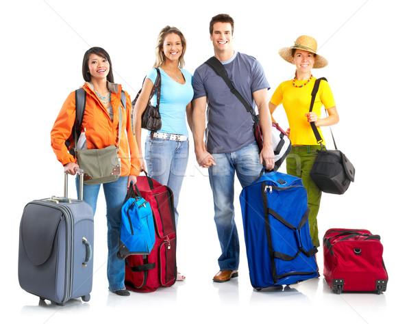 Toeristen gelukkig glimlachend witte vrouw familie Stockfoto © Kurhan