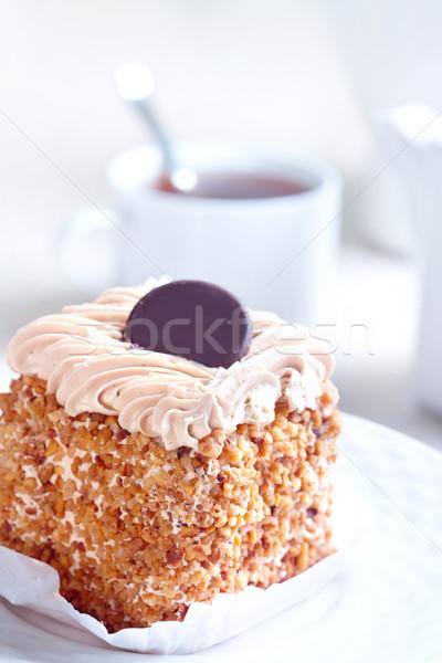 Stock foto: Süß · Kuchen · Tasse · Tee · Kaffee