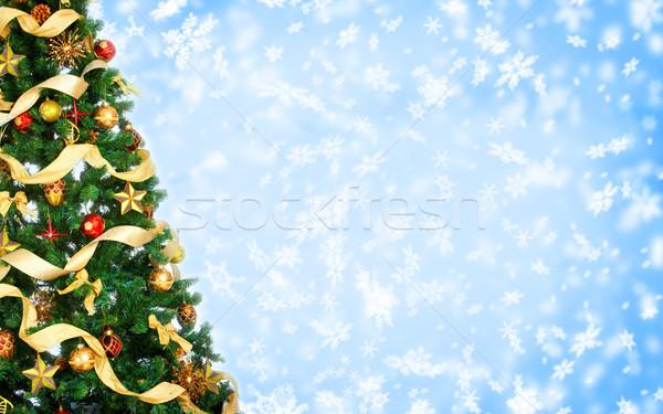Stok fotoğraf: Noel · ağacı · ağaç · kar · arka · plan · beyaz · Noel