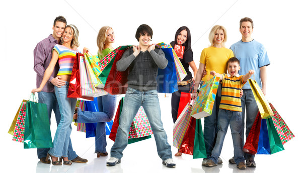 Stock photo: Happy shopping people.