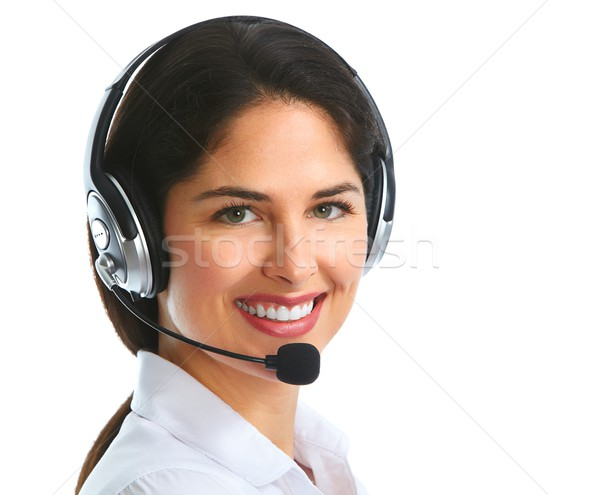 Woman with headsets isolated white background Stock photo © Kurhan