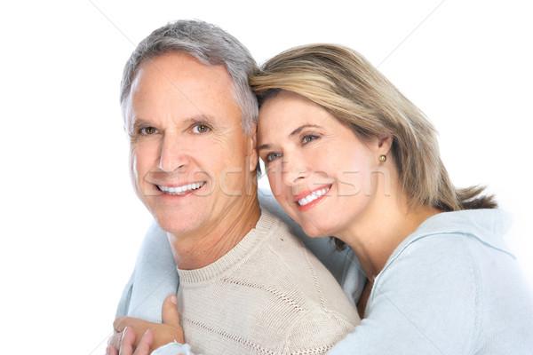 Idősek pár boldog szeretet egészséges fogak Stock fotó © Kurhan
