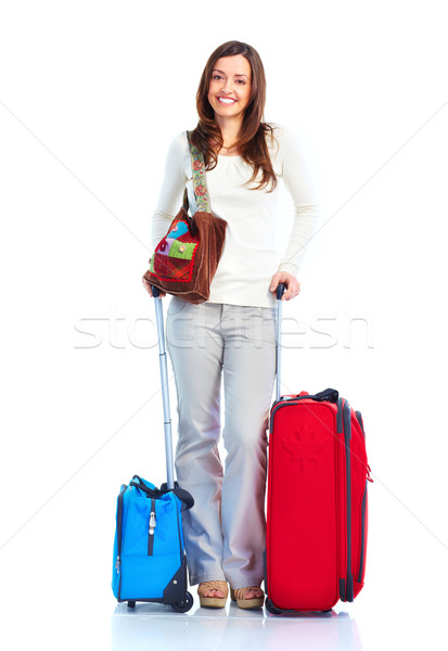 Turystycznych szczęśliwy kobieta odizolowany biały młodych Zdjęcia stock © Kurhan