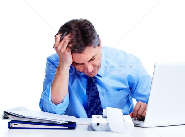 Stock fotó: Könyvelő · üzletember · stressz · izolált · fehér · férfi