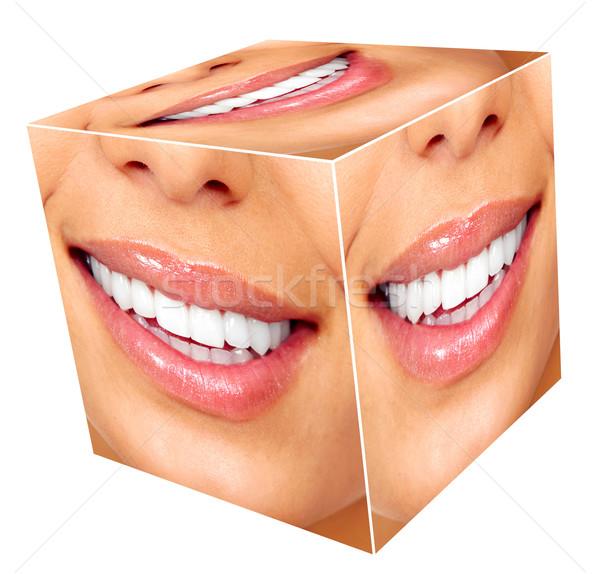 Foto stock: Sonrisa · de · mujer · cubo · collage · aislado · blanco · sonrisa