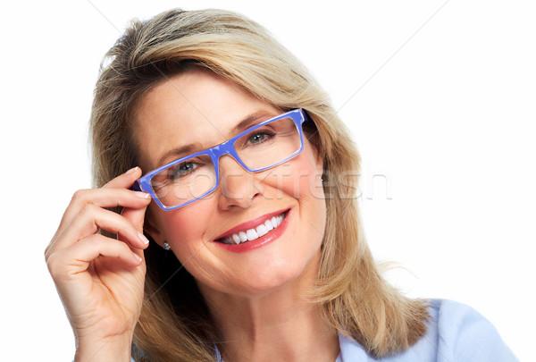 Beautiful senior woman wearing eyeglasses. Stock photo © Kurhan
