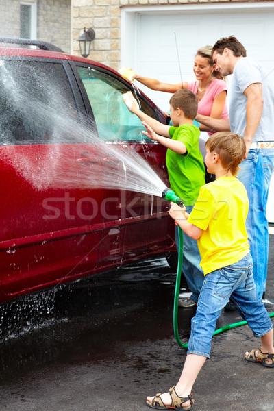 Család autó mosolyog boldog család mosás gyerekek Stock fotó © Kurhan