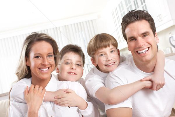 Boldog család apa anya gyerekek nő Stock fotó © Kurhan