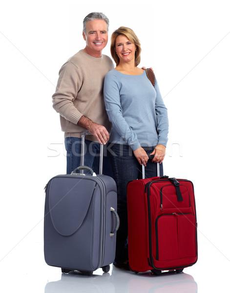 Couple de personnes âgées valise isolé blanche femme famille Photo stock © Kurhan