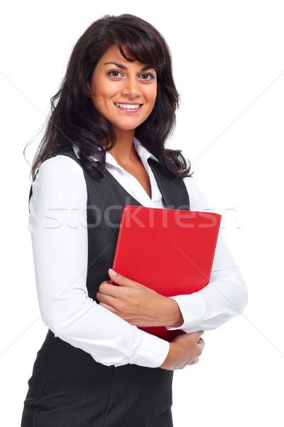 Belo jovem mulher de negócios isolado branco mulher Foto stock © Kurhan