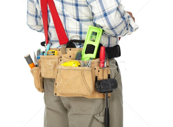 Homem construtor construção ferramentas handyman branco Foto stock © Kurhan