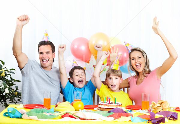 счастливая семья рождения отец матери детей Сток-фото © Kurhan