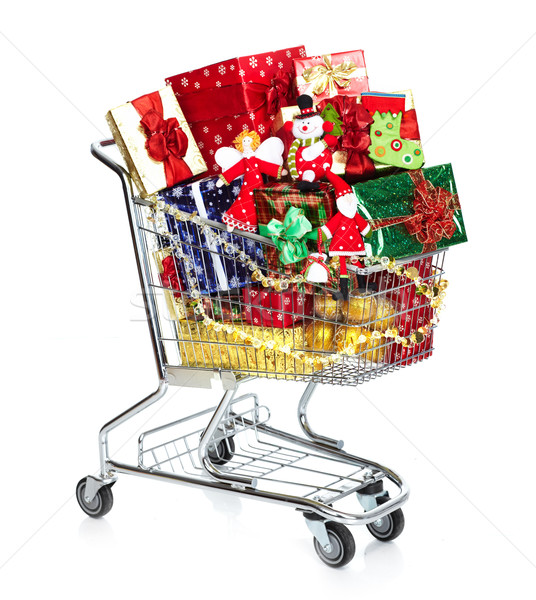 Christmas shopping cart with gifts. Stock photo © Kurhan