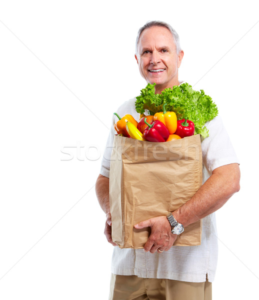 Senior man with a grocery shopping bag. Stock photo © Kurhan