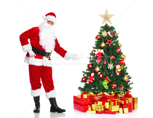 Santa Claus and Christmas Tree. Stock photo © Kurhan