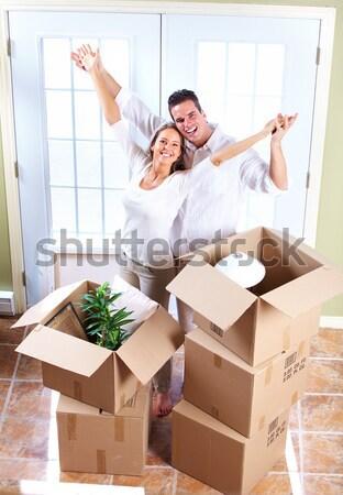 Boldog pár mozog új ház ingatlan család Stock fotó © Kurhan