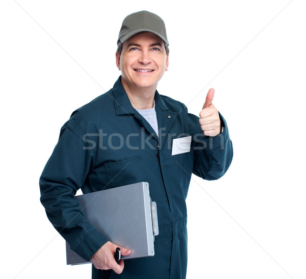 Automechaniker professionelle isoliert weiß Mann Hintergrund Stock foto © Kurhan
