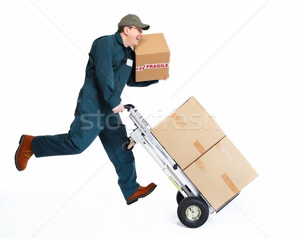 работает доставки почтальон окна изолированный белый Сток-фото © Kurhan