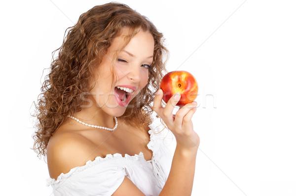 Stock foto: Frau · Apfel · schönen · Essen · roten · Apfel
