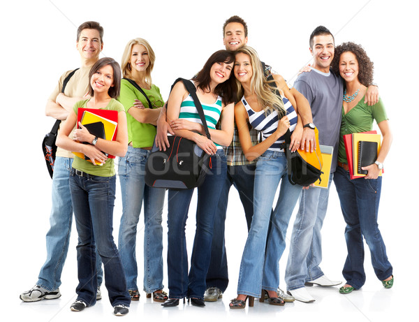 Diákok nagyobb csoport mosolyog fehér férfi diák Stock fotó © Kurhan