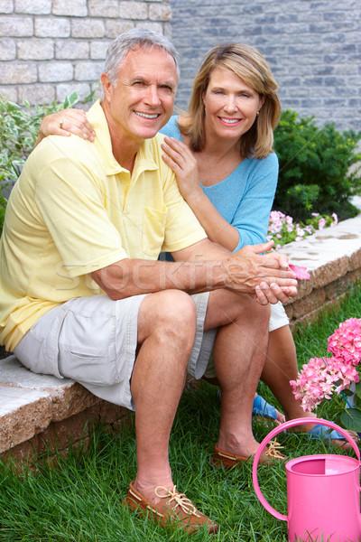 Idősek kertészkedés mosolyog boldog idős pár Stock fotó © Kurhan