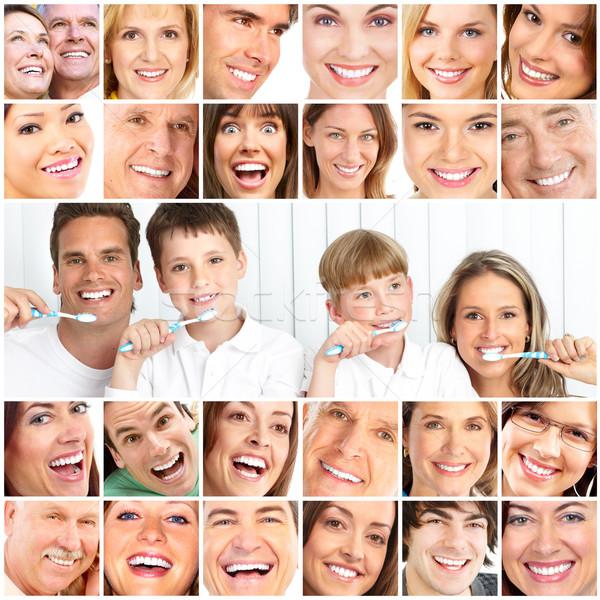 Stok fotoğraf: Sağlıklı · dişler · mutlu · aile · baba · anne · çocuklar