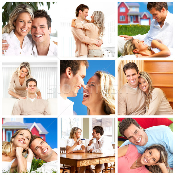 Couple amour maison heureux souriant femme Photo stock © Kurhan