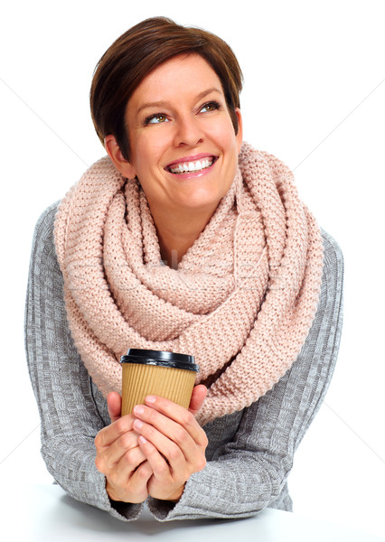 Beautiful lady with scarf and coffee mug. Stock photo © Kurhan