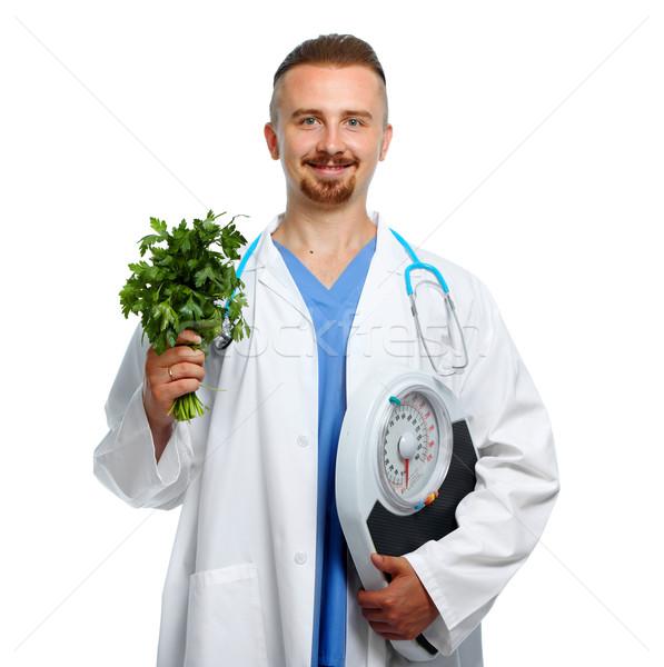 врач тело Весы петрушка медицинской диетолог Сток-фото © Kurhan