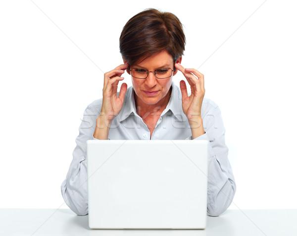 Nő laptop számítógép fejfájás gyönyörű üzletasszony izolált Stock fotó © Kurhan